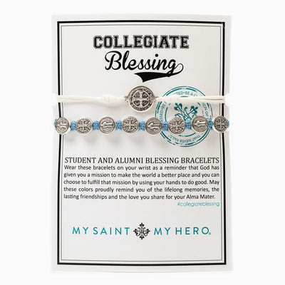 Student & Alumni Blessing Bracelets Silver Medal on White  and Light Blue Cord