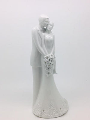 Porcelain Bride and Groom Wedding Cake Topper  (8 1/2