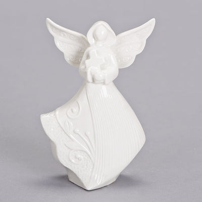 White Porcelain Bereavement Angel with Cross 5