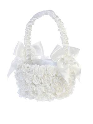 White Wedding Basket Covered with Flowers - Unique Catholic Gifts
