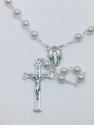 White Pearl Bead Miraculous Medal Rosary (21