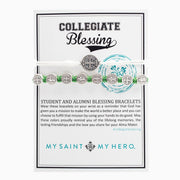 Student & Alumni Blessing Bracelets Silver Medal on Green and White Cord