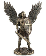 "Bronze Archangel Saint Michael with Sword and Shield Statue 14"" - Unique Catholic Gifts"