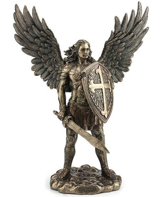 Bronze Archangel Saint Michael with Sword and Shield Statue 14