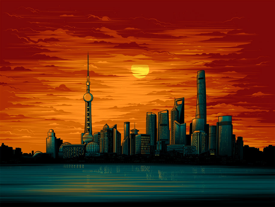 Shanghai Sunset variant by Dan Mumford |  SHCC 2017 exclusive
