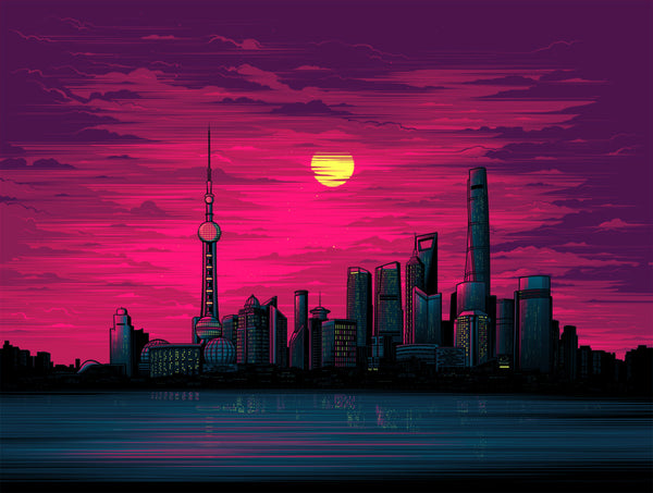 Shanghai Sunset by Dan Mumford