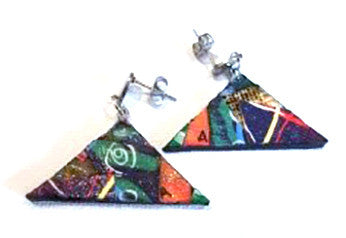 "#SOLD ""Drop Collage Triangle Stud Earrings"" by Anthea Louise Piszczuk"