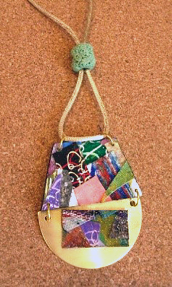 """Reversable Collage on Brass Necklace"" by Anthea Louise Piszczuk"