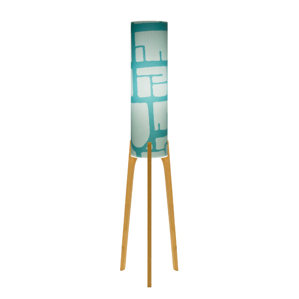 THE PHOEBE LAMP - Original Tri Base (pine) $389 - [Paper: Adelaide Detail Teal] by Where North Meets South