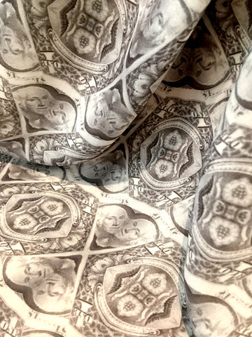 """Dollar Bills Y'all"" Double Georgette Silk Scarf (140mm X 150mm) by Mark Zed"