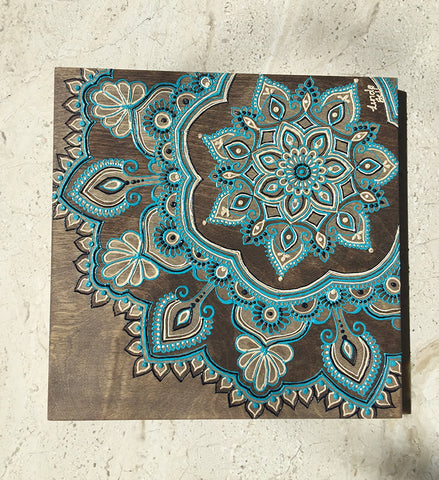 "#sold ""Aqua Cinta"" Timber Henna Artwork by Linda Bell"