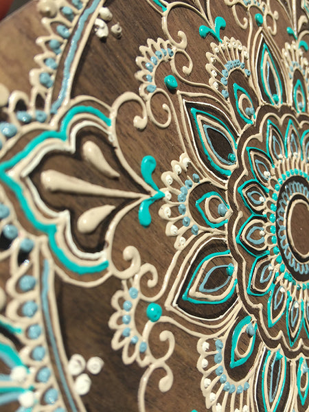 """Turquoise Cinta"" Timber Henna Artwork by Linda Bell"