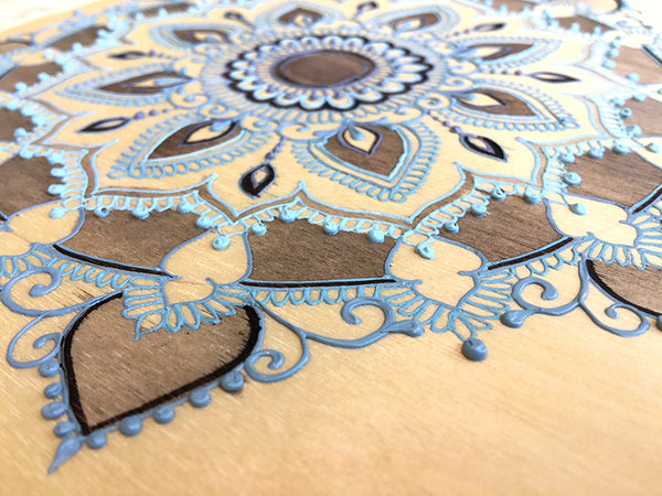 """Vishnu Ji"" *Special Edition* - Cherry Wood Paper henna artwork by Linda Bell"