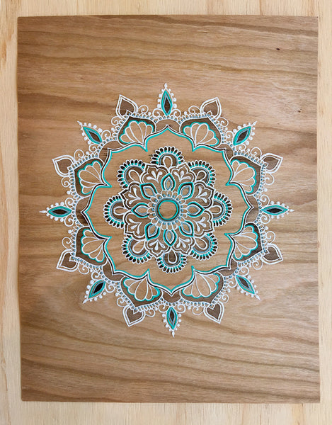 """Cheree Ji"" *Special Edition* - Cherry Wood Paper henna artwork by Linda Bell"