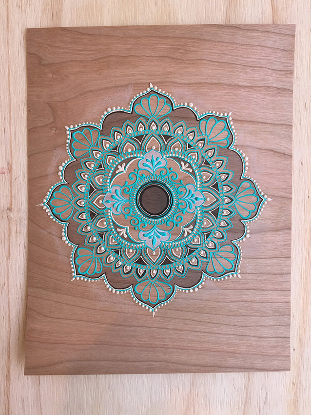 """Cheree Cinta"" *Special Edition* - Cherry Wood Paper henna artwork by Linda Bell"