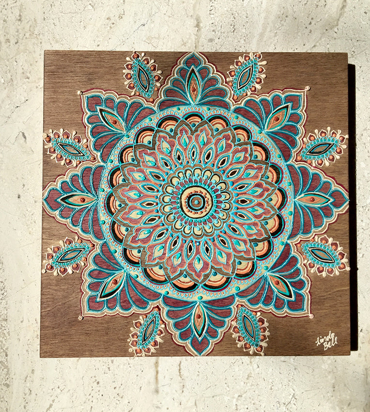 "#sold ""Plum Cinta"" Timber Henna Artwork by Linda Bell"