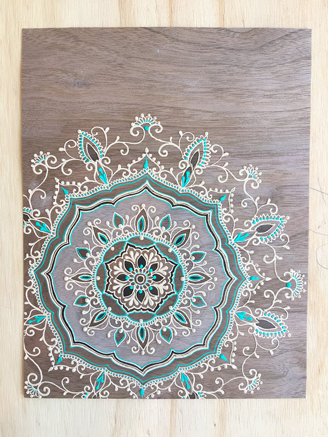 "#sold ""Shiva Cinta"" *Special Edition* - Walnut Wood Paper henna artwork by Linda Bell"