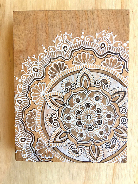 "#sold ""Brahma Cinta"" *Special Edition* - Timber tile henna artwork by Linda Bell"