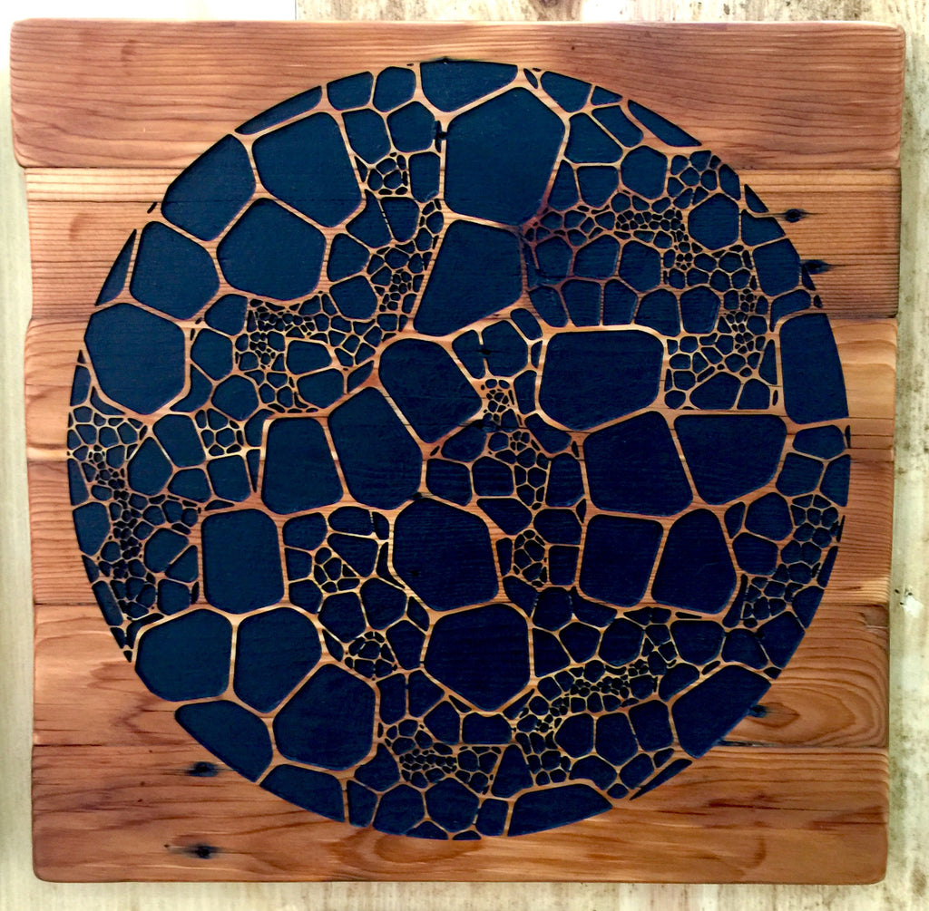 """Cellular""  [Timber Wall Sculpture] by Gaire Kahika Tané"