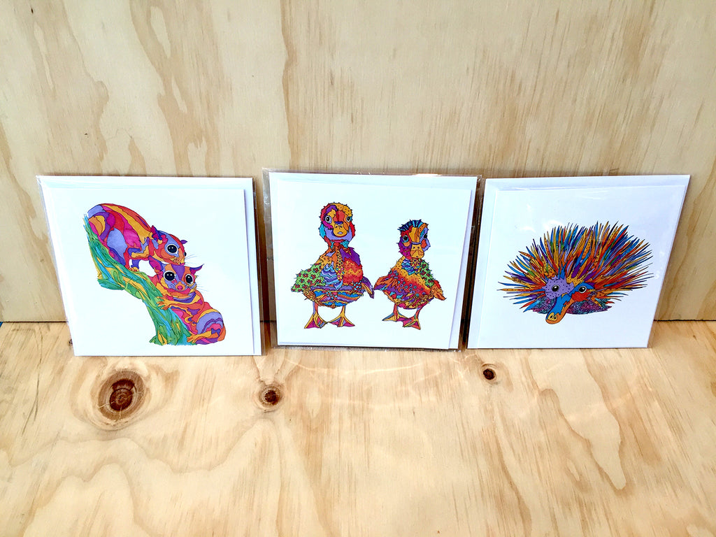 "MULTIPLE PURCHASE OFFER ""3 x (150mm x 150mm) - Illustrative Art Cards"" by Mandi Glynn-Jones"
