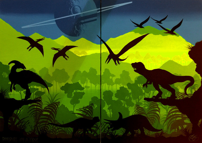 """Dinosaurs on a ledge"" (Diptych) by Graham Shaw (G)"