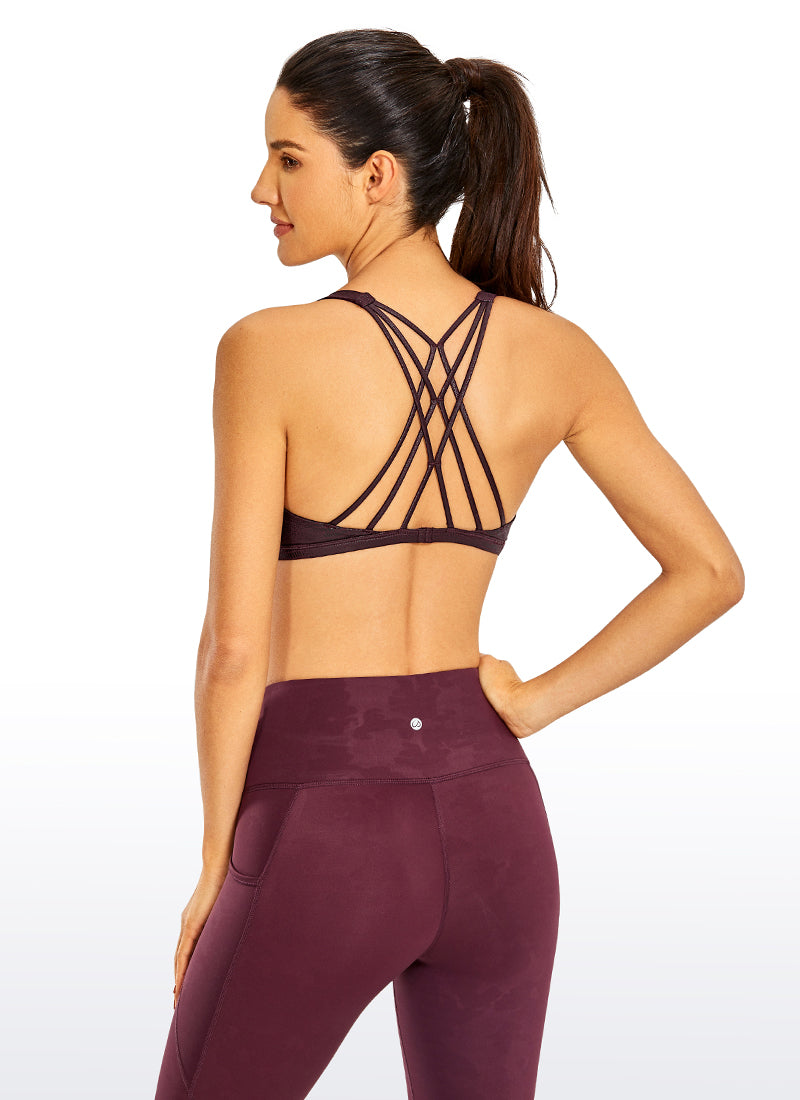 Coated Faux Leather Strappy Sports Bra Netlike-back