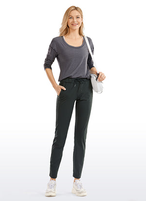 Stretch Drawstring 7/8 Pants with Pockets 27.5''