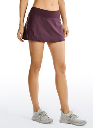Feathery-Fit Mid Rise Tennis Skirt with Pockets