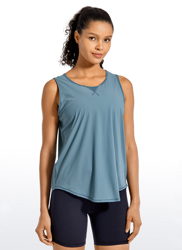 Breezy Feeling Workout Tank Mesh Tie Back - CRZ YOGA