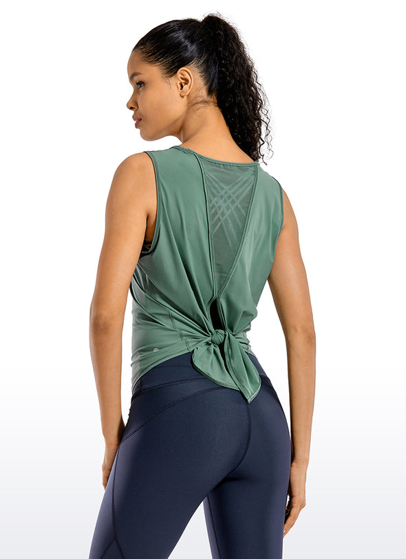 Activewear Sleeveless Open Tie Back Tank Tops
