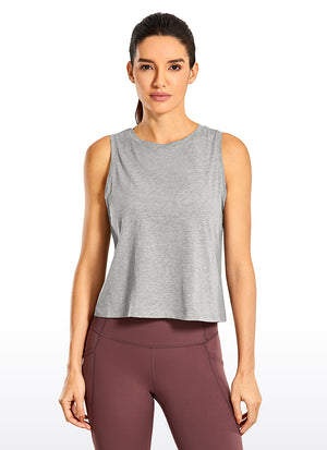Pima Cotton Crop Tank Round Neck