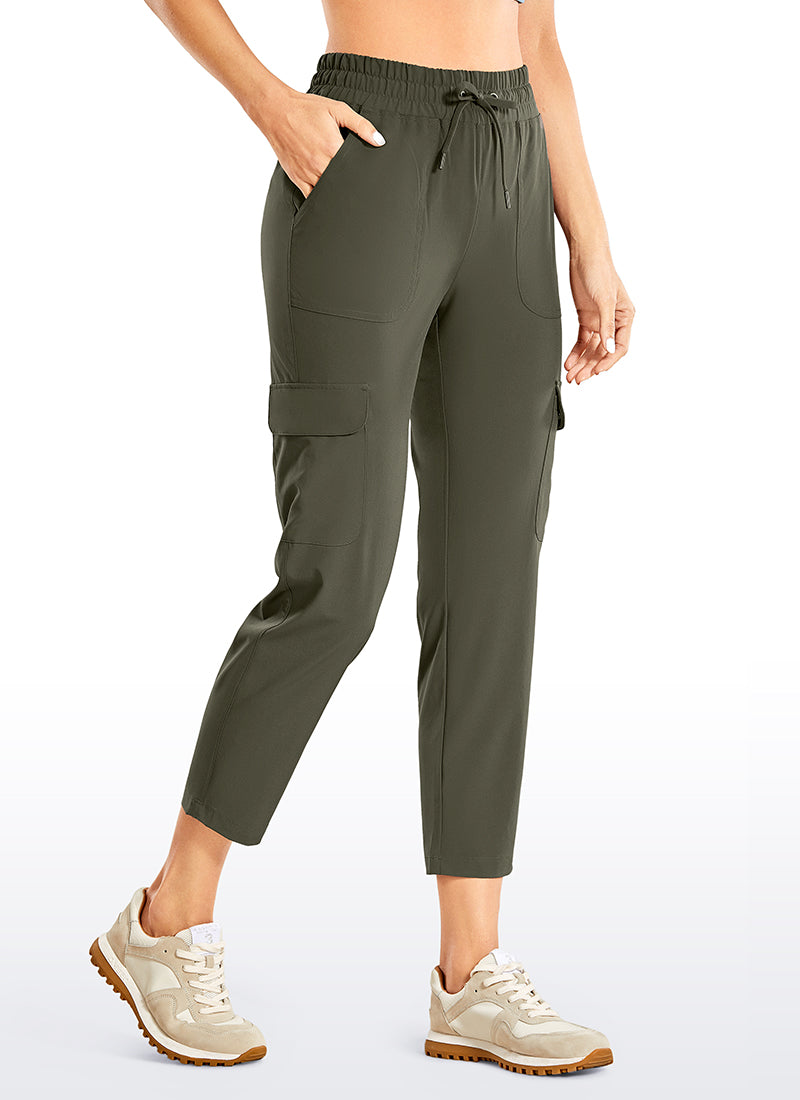 Feathery-Fit Drawstring Cargo Pants with Pockets 25''