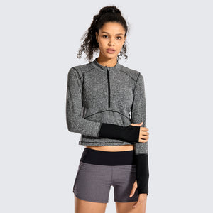 Brushed Feeling Crop Long Sleeves 1/2 Zip - CRZ YOGA