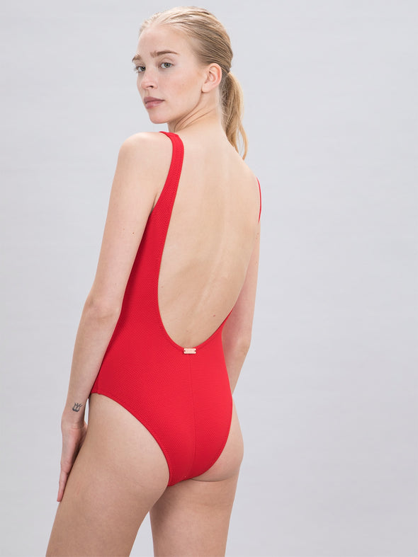 Women's 80's One Piece Red Swimsuit