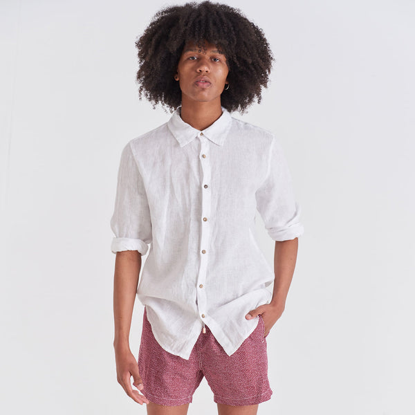Mens Linen - White Linen Shirt