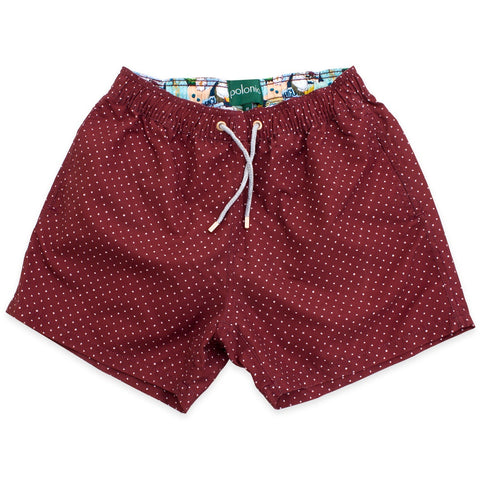 Swim Shorts - Scratch Dot Swim Shorts (Burgundy)