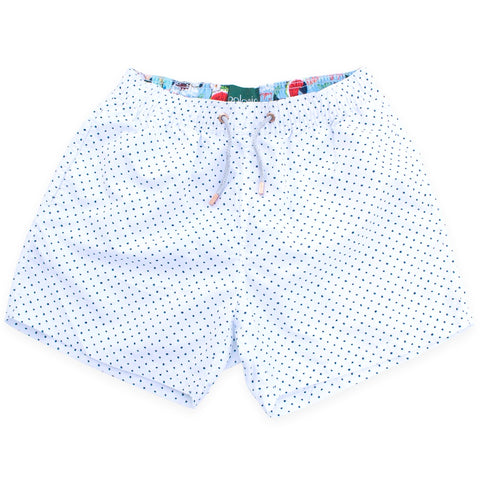 Swim Shorts - Scratch Dot Swim Shorts (White)