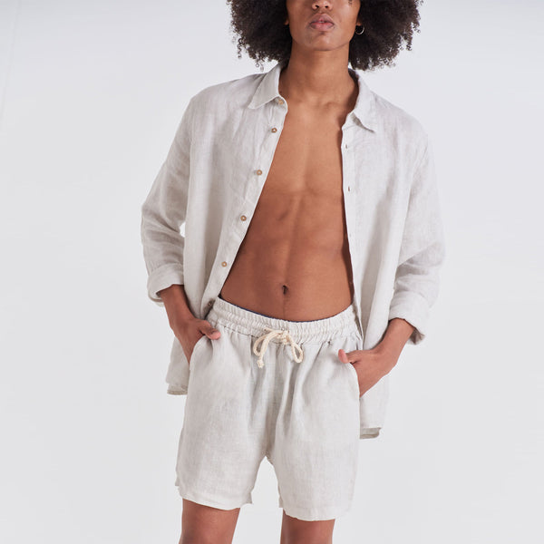Tailored Linen Short - Beige Tailored Linen Shorts
