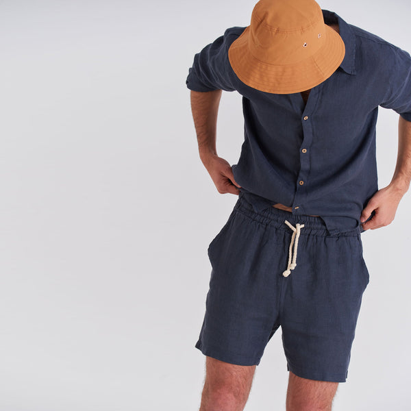 Tailored Linen Short - Navy Tailored Linen Shorts