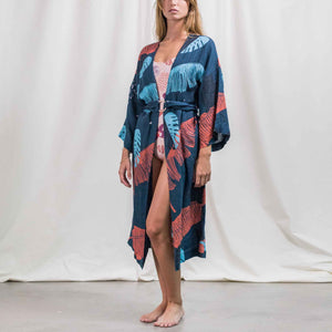 Load image into Gallery viewer, Womens - Panther Navy Linen Kimono
