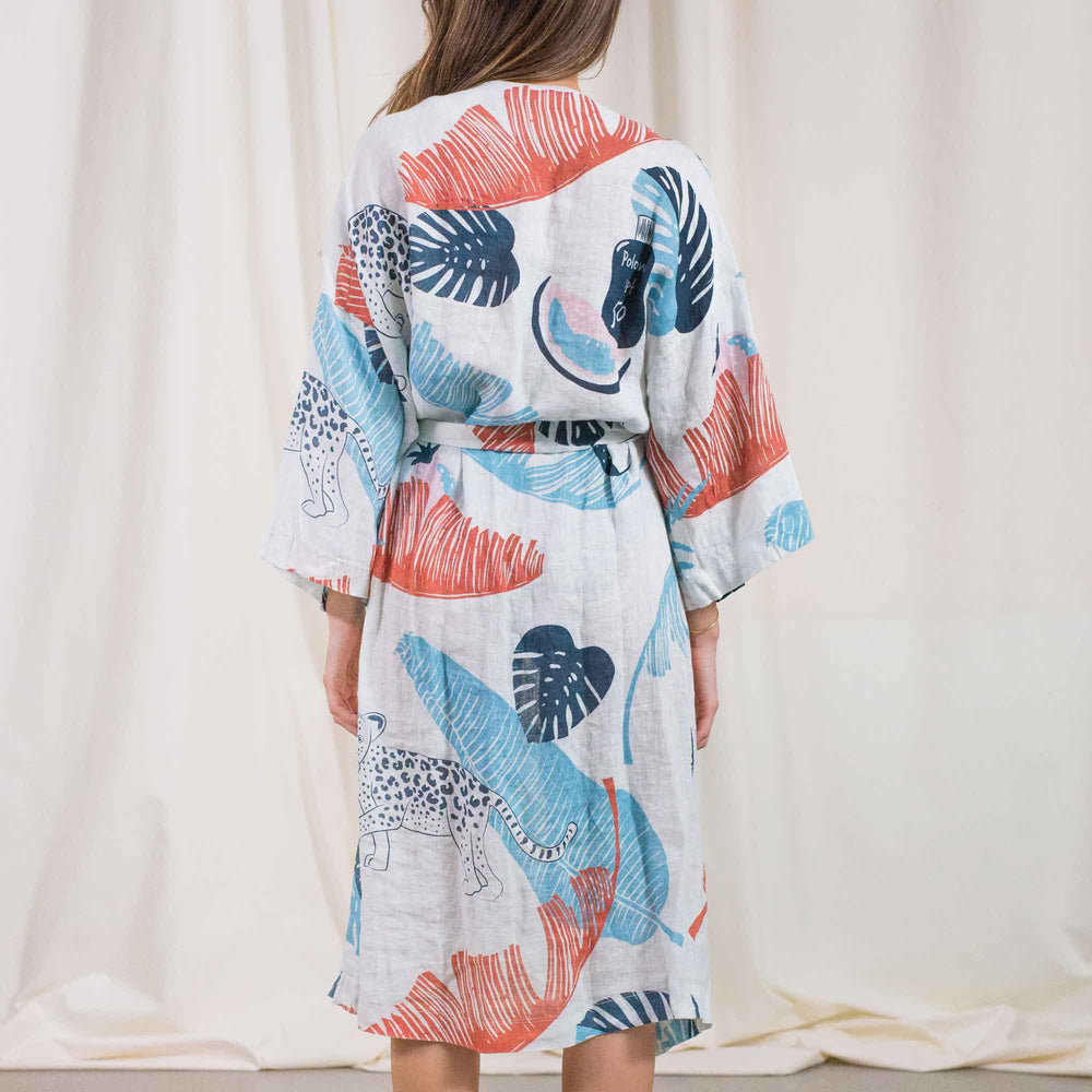 Load image into Gallery viewer, Womens - Panther White Linen Kimono