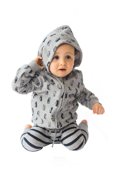 ALEX & ANT - Penguin Hoodie - Grey with printed penguins - 0-3m left