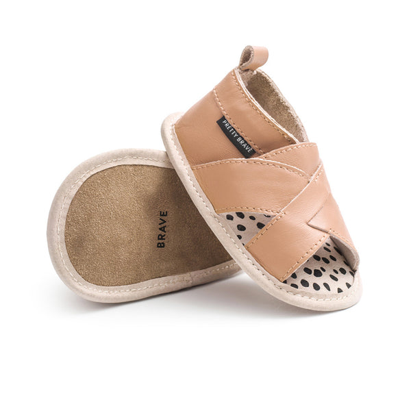 PRETTY BRAVE - CROSS-OVER SANDAL TAN - 6-12 and 12-18M available