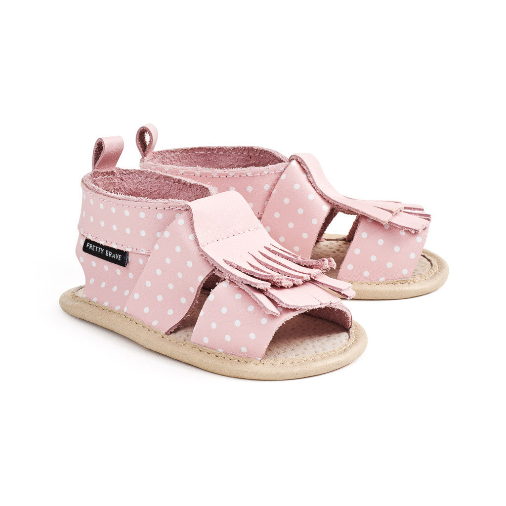 PRETTY BRAVE - FRINGE SANDAL PINK WITH DOTS - M available