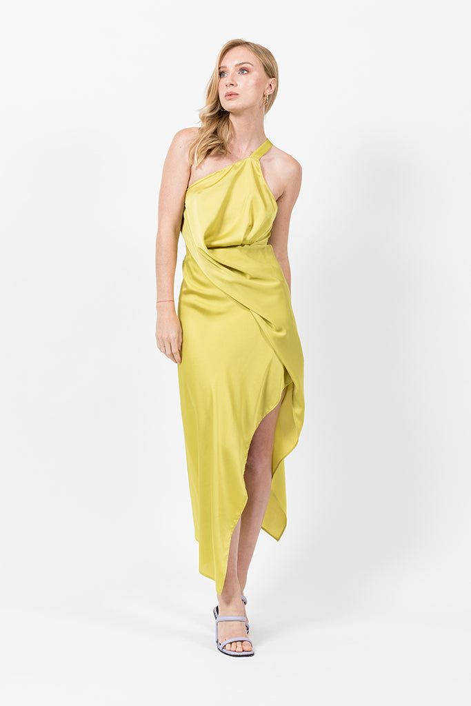 Harlequin Dress in Citron