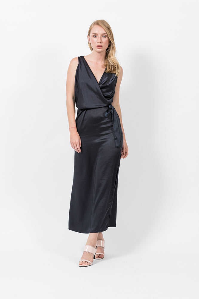 NINA MAXI WITH TIE IN NAVY