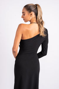 DAZE MIDI IN BLACK CREPE