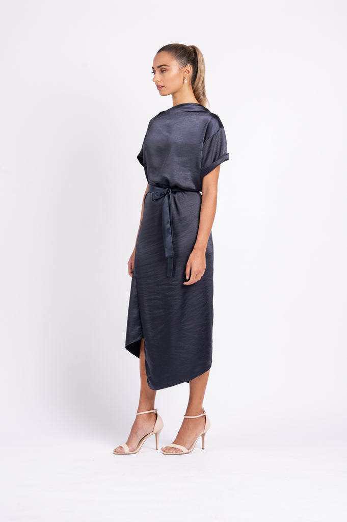 TIPSY TUNIC WITH TIE IN NAVY PO