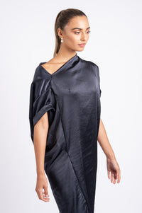 TIPSY TUNIC WITH TIE IN NAVY SILK