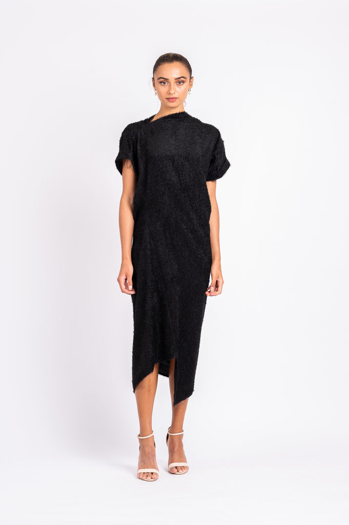 TIPSY TUNIC WITH TIE IN BLACK BIRD